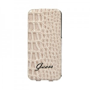 Кожаный чехол для iPhone 6 Guess Croco Flip Beige (GUFLP6CRB)