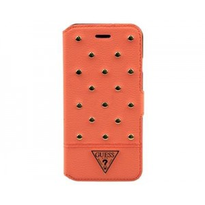 Кожаный чехол для iPhone 6 Guess Tessi Booktype Coral (GUFLBKP6STSM)