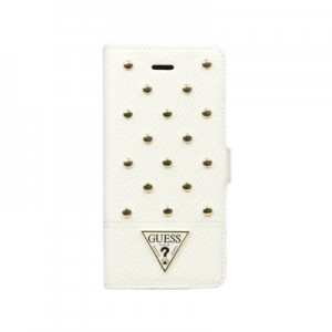 Кожаный чехол для iPhone 6 Plus Guess Studded Booktype Cream, (GUFLBKP6LSAC)