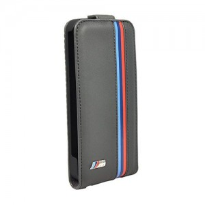 Кожаный чехол для iPhone 5 / 5 BMW Flip Case, Grey leather, (BMFLP5MG)
