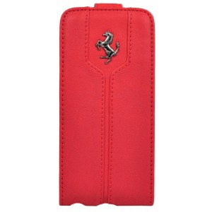 Кожаный чехол для iPhone 5/5S Ferrari Flip Montecarlo Red, (FEMTFLP5RE)