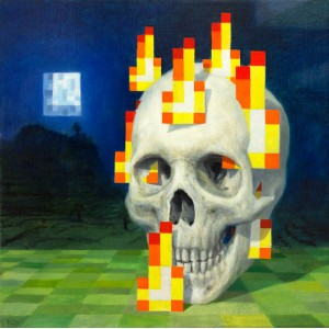 Постер Minecraft Burning Skull Poster 60x60