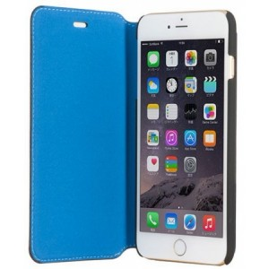 Кожаный чехол для iPhone 6 Plus / 6S Plus BMW Bicolor Booktype, цвет Black / Blue (BMFLBKP6LCLB)