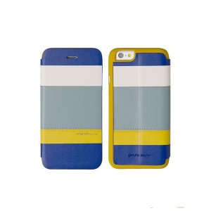 Кожаный чехол для iPhone 6 Plus / 6S Plus Uniq March, цвет Blue/Yellow (IP6PGAR-MARBLU)